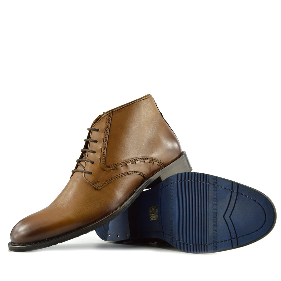 Windsor Leather Brogue Derby Boots - Tan