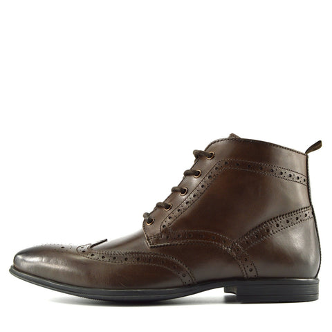 Baker Leather Smart Brogue Ankle Boots - Brown