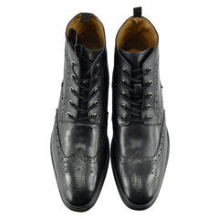 Baker Leather Smart Brogue Ankle Boots - Black