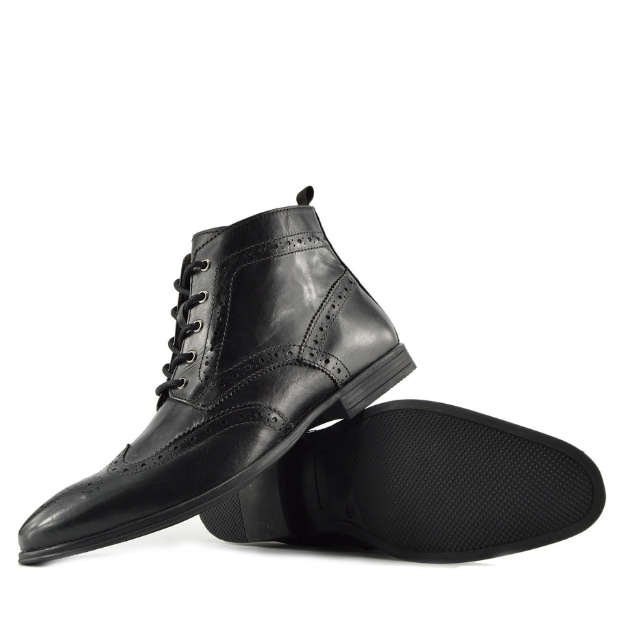 Baker Leather Brogue Ankle Boots - Black