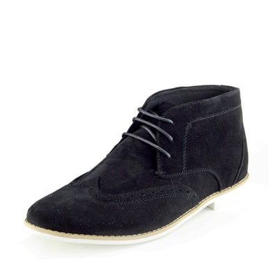 Hatton Suede Desert Lace up Ankle Boots - Black