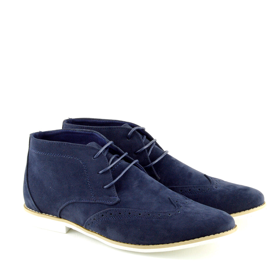 Hatton Suede Desert Lace up Ankle Boots - Navy