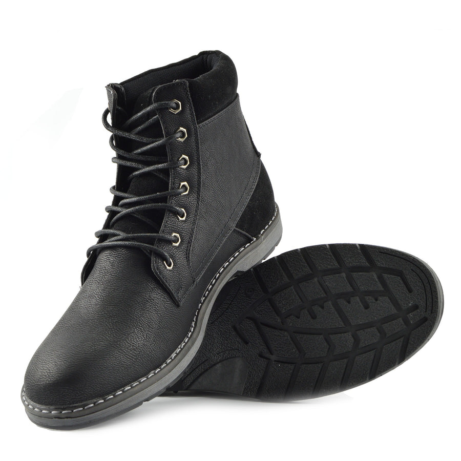 Blaine Smart Combat Lace up Biker Boots - Black