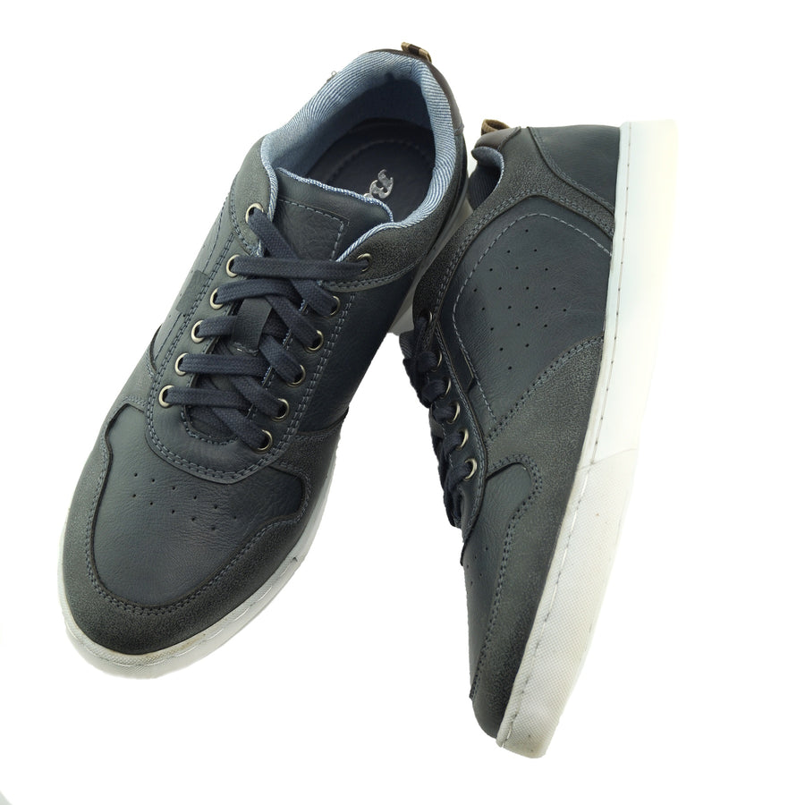 Saint Lace up Premium Leather Trainer - Navy