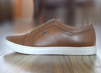 Saint Lace up Premium Leather Trainer - Tan