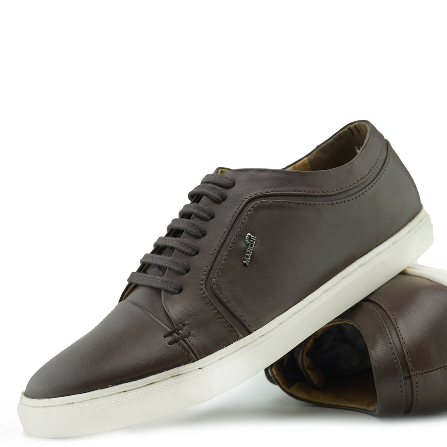 Saint Lace up Premium Leather Trainer - Brown