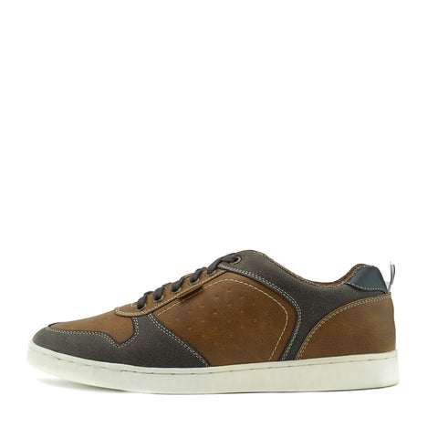 Saint Lace up Premium Leather Trainer - Tan Mix
