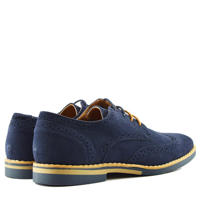 Mens Casual Suit Suede Formal Office Smart Work Lace Up Oxford Brogue Shoes - Navy