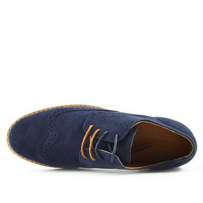 Eddie Smart Faux Suede Lace Up Brogues - Navy