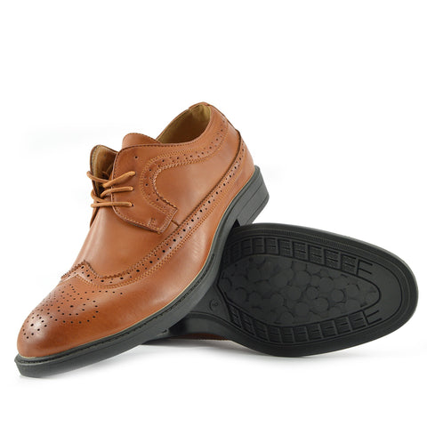Brogue Detail Lace up Shoes - Tan