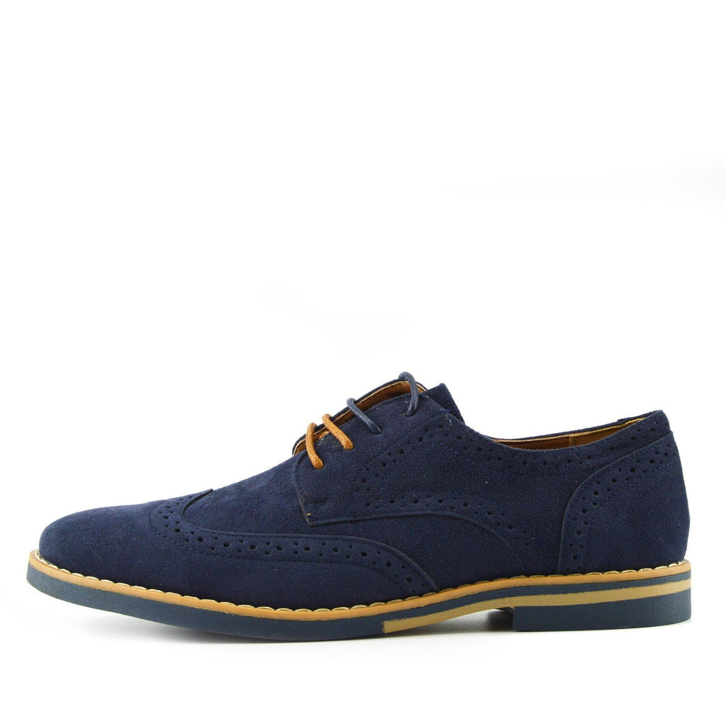 Brogue Detail Contrast Lace up Shoes Navy