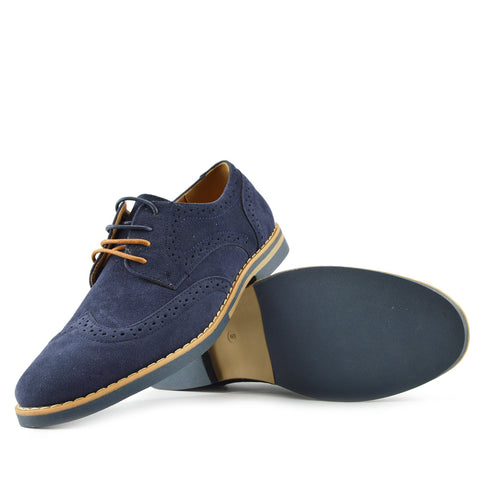 Brogue Detail Contrast Lace up Shoes - Navy