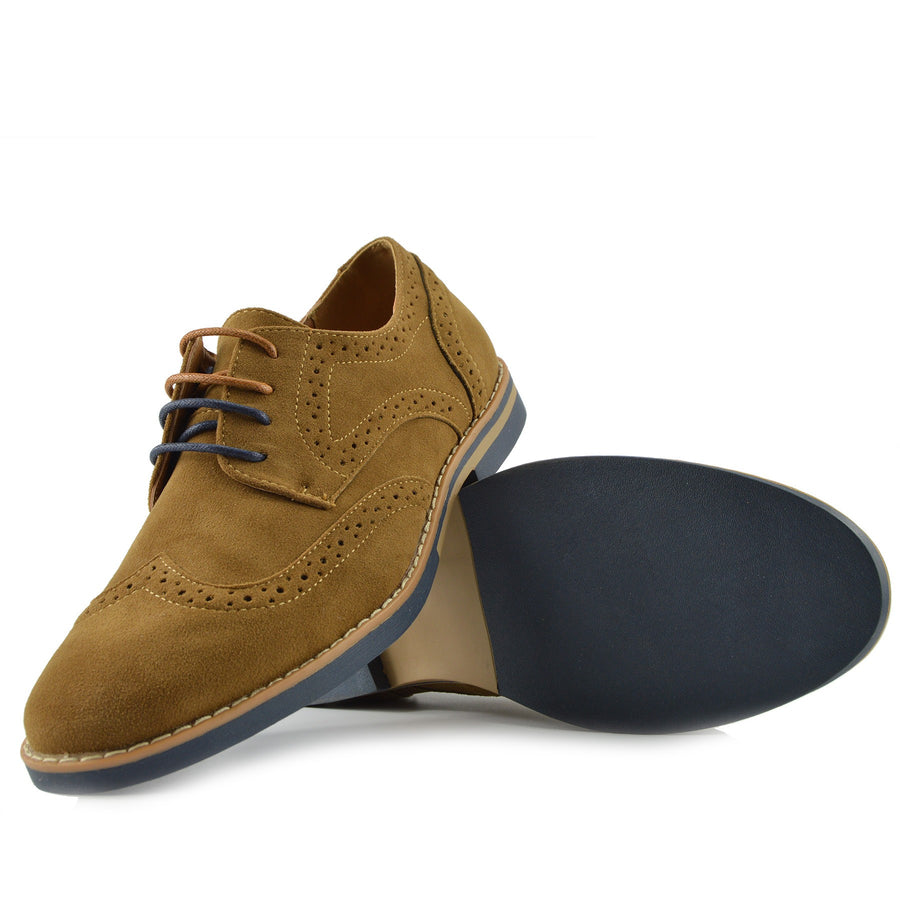 Eddie Smart Faux Suede Lace Up Brogues - Tan Navy