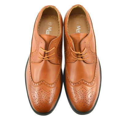 Mens Casual Suit Suede Formal Office Smart Work Lace Up Oxford Brogue Shoes - Tan