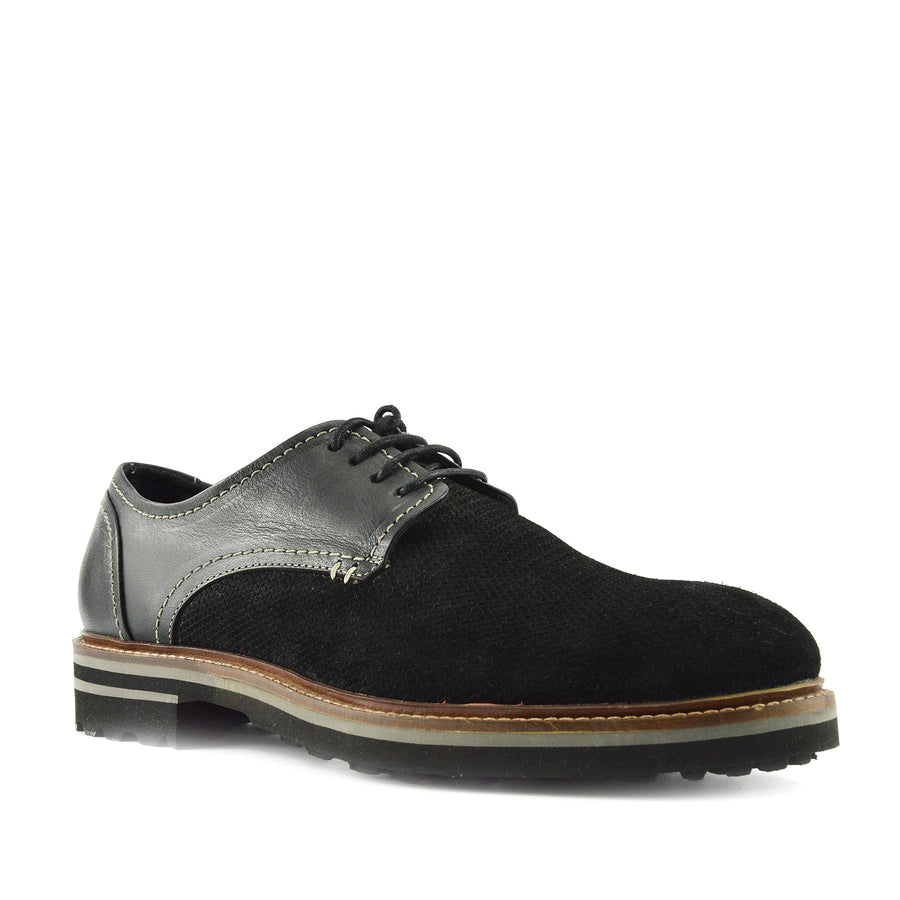 MENS LEATHER BROGUE SHOES LACE UP CASUAL OFFICE SMART FORMAL SHOES - Black