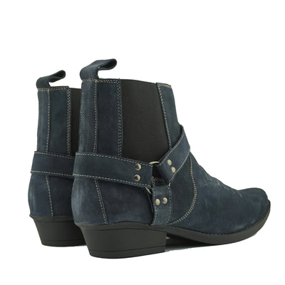 Wilson Suede Western Cowboy Ankle Boots - Navy Suede