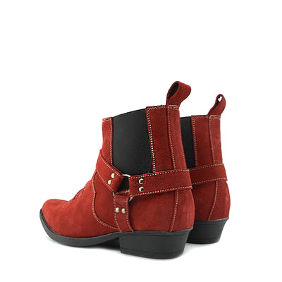 Wilson Suede Western Cowboy Ankle Boots - Red Suede