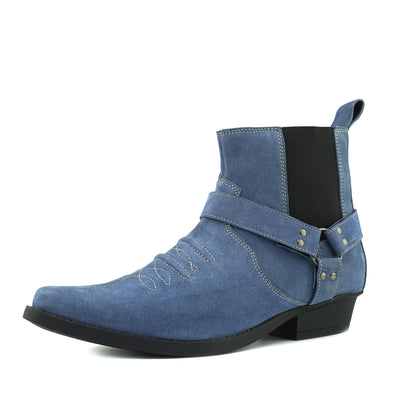 Wilson Suede Western Cowboy Ankle Boots - Blue Suede