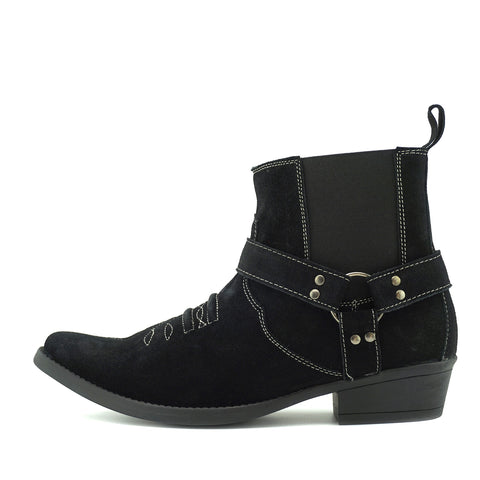Wilson Suede Western Cowboy Ankle Boots - Black