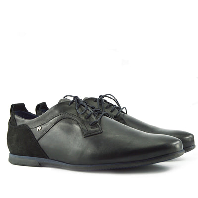 Mens Black-Navy Smart Leather Upper Casual Formal Lace Up Shoes - Black-Navy