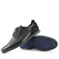 Smart Leather Lace up Contrast Shoes - Black-Navy