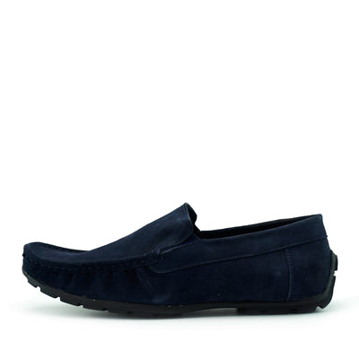 Moccasin Suede Driving Loafers - Navy