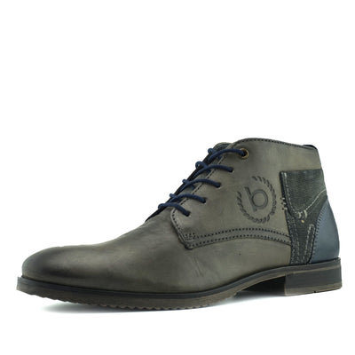 Bugatti Premium Leather Lace Up Contrast Boots - Grey