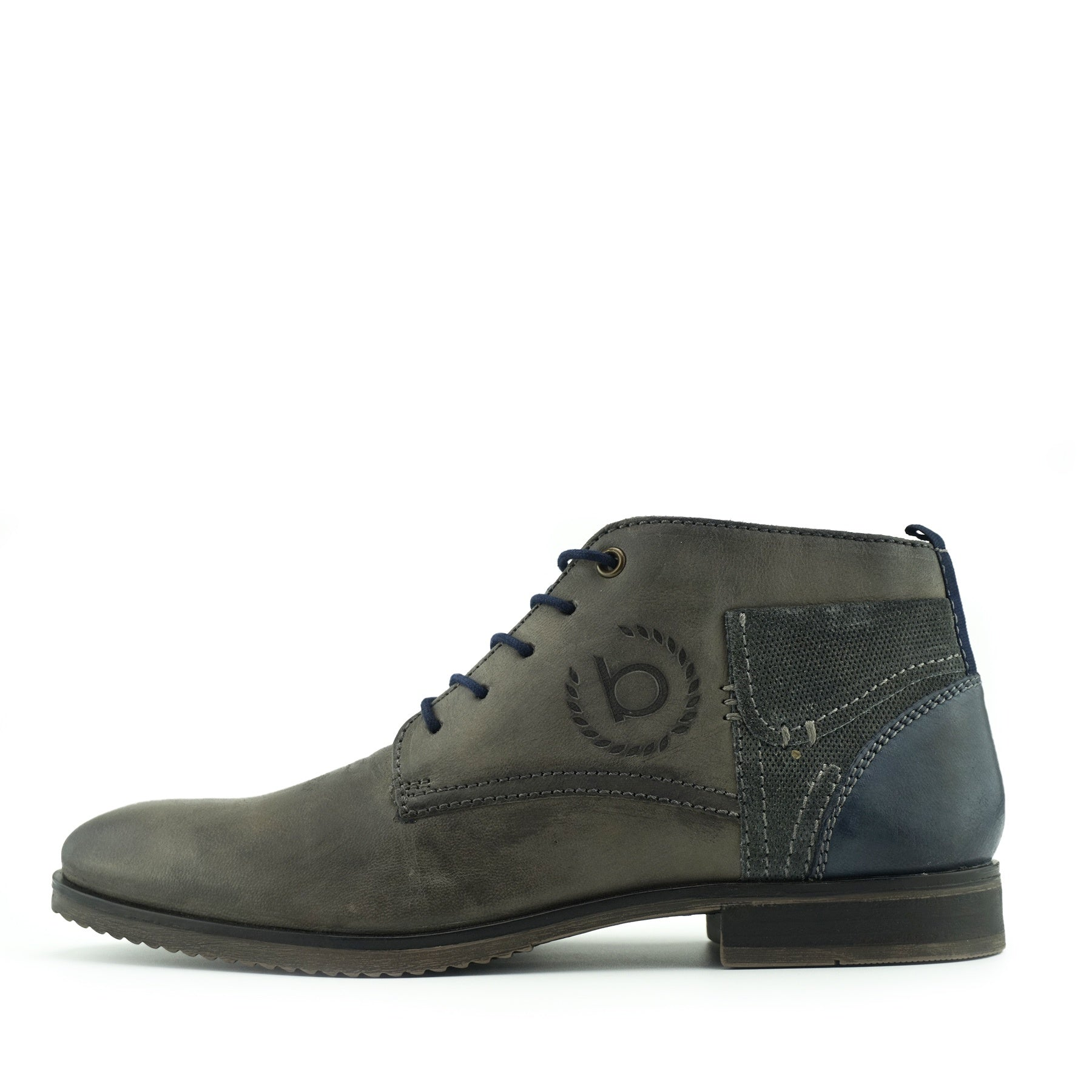 8b7d078220344 ... Bugatti Premium Leather Lace Up Contrast Boots - Grey. mens leather  shoes size 13