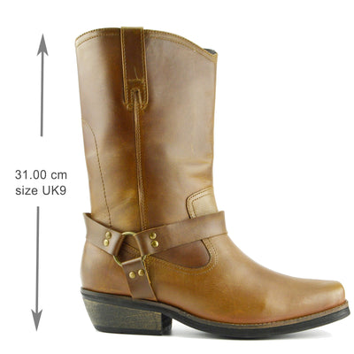 New Mens Cowboy Leather Ankle Biker Western Boots - Tan Long