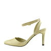 Womens ankle straps mid high heel patent ankle straps shoes - Nude-16047