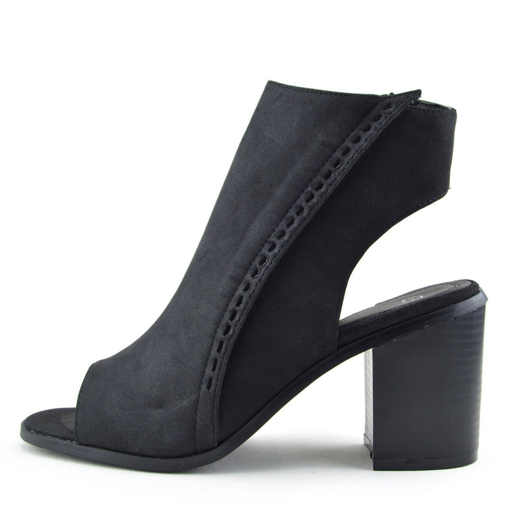 Ivy Block Heel Open Toe Mule Ankle Boots - Black