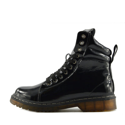 Bailey Ankle Cushioned Flat Punk Biker Boots - Black Patent