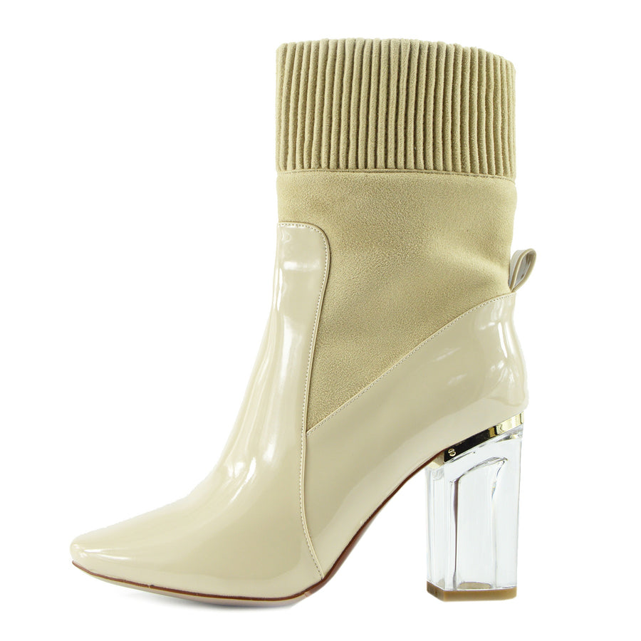 Harper Stretch Block Perspex Heel Ankle Boots - Nude