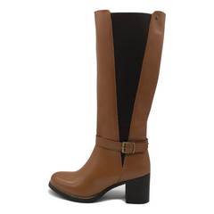 Saffy Elasticated Leather Long Tan Boots