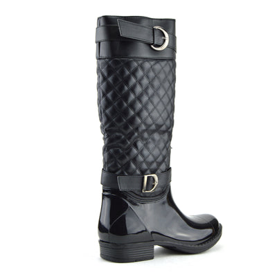Fairford Quilted Wellington Boots - Black -2