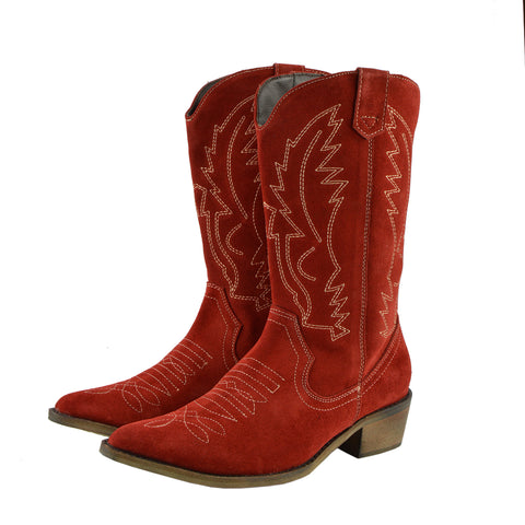 Kitty Western Leather Cowboy Boots - Red Suede