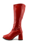 Betty Block Heel Go Go Long Boots - Red