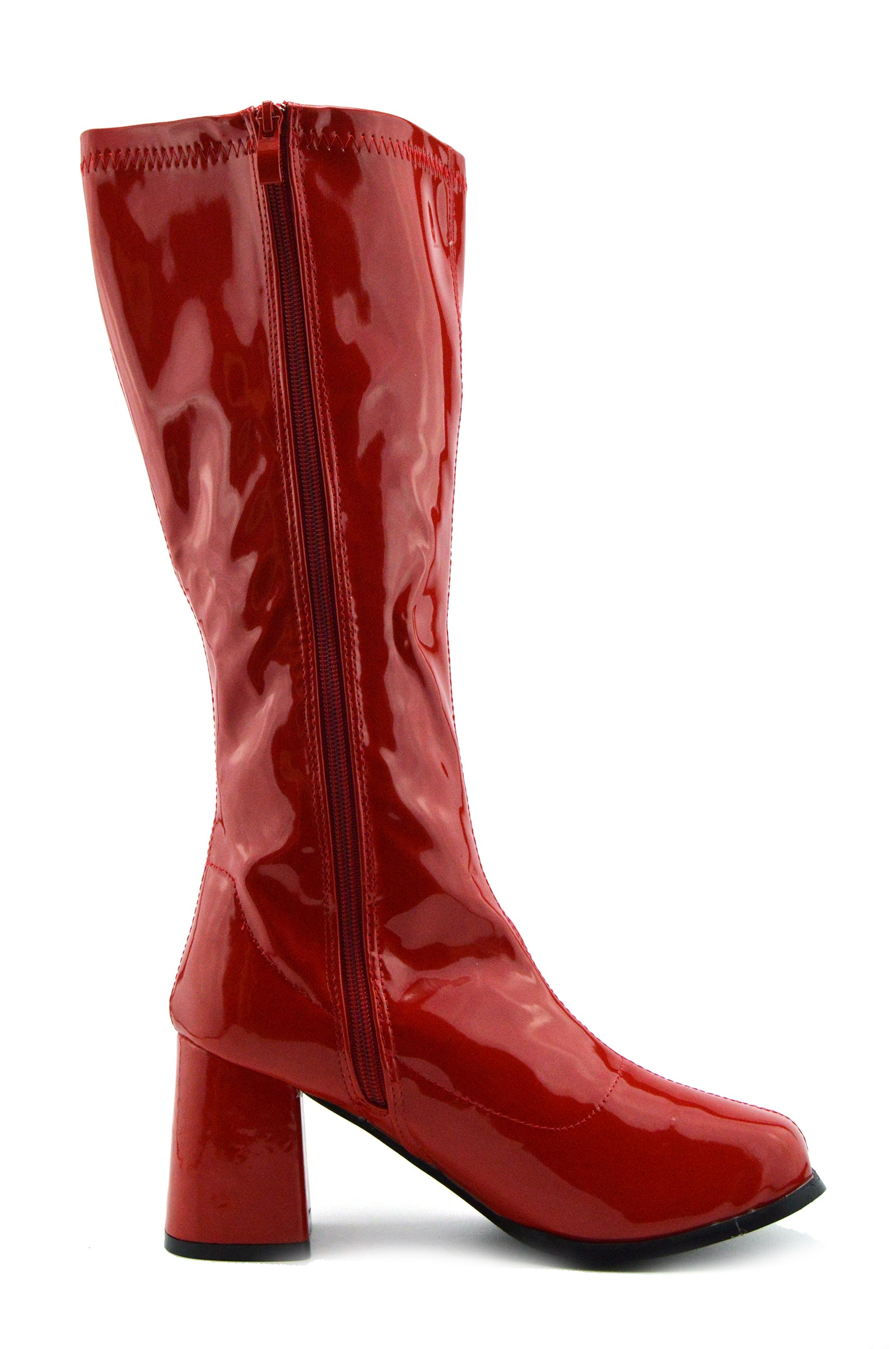 5ff6ab319817 Betty Block Heel Go Go Long Boots - Red - Kickfootwear
