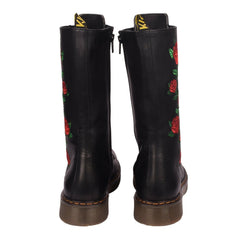 Lennox Rose Leather Womens Black Mid Calf Boots UK
