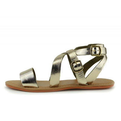 Selma Leather Buckle Strap Gladiator Sandals - Gold