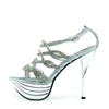 Womens Charmaine Clear Perspex High Heels Fashion Platform Pole Dancing Shoes - Silver AB191