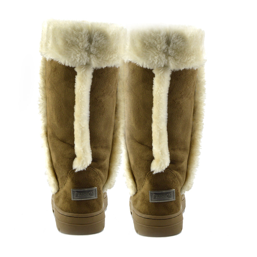 Holly Mid Calf Faux sheepskin Lined Winter Boots - Tan White