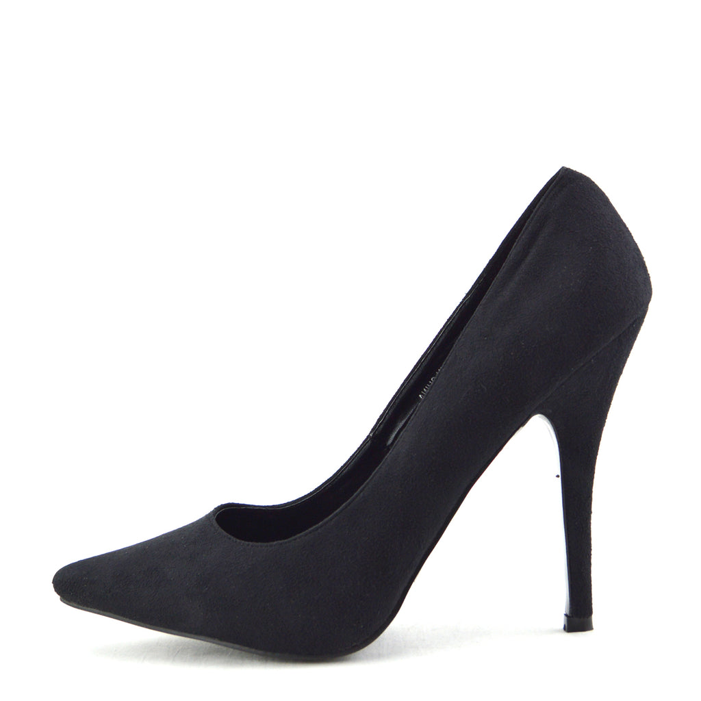 High Pointed Stiletto Court Shoes - Black