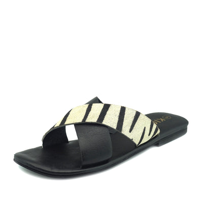 Zadie Leather Comfort Sole Cross Sliders- Zebra