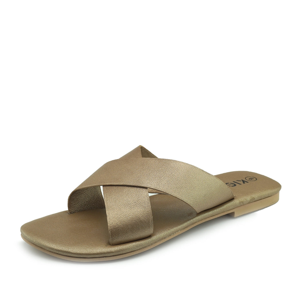 Zadie Leather Comfort Sole Cross Sliders - Gold