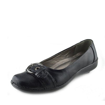 Apsley Flat Casual Comfortable Ballerina Shoes - Black - 2