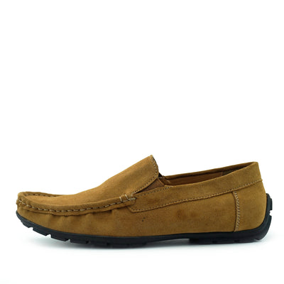 Moccasin Suede Driving Loafers - Tan
