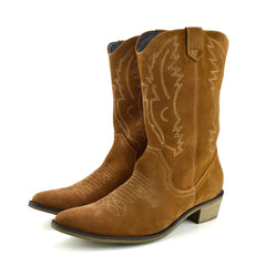 Kitty Western Leather Cowboy Boots - Tan Suede