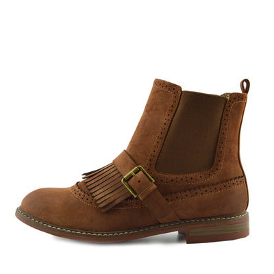 Brogue Detail Pull On Fringe Chelsea Style Boots - Tan