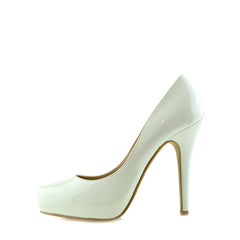 Patent Stiletto Court Shoes - White